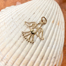 Load image into Gallery viewer, 14KT Yellow Gold Cut-Out Guardian Angel with Heart Pendant Charm