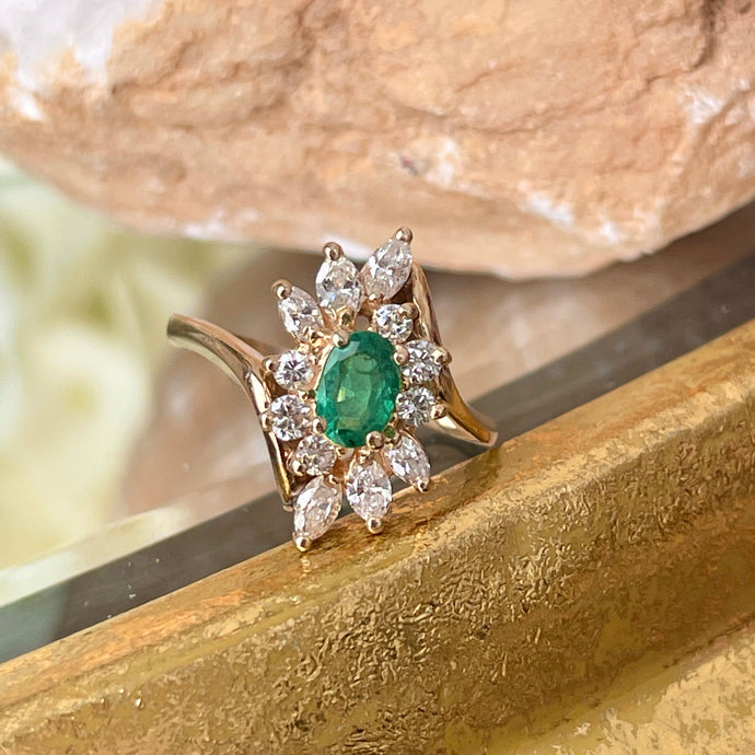 Estate 14KT Yellow Gold Oval .55 CT Emerald + Marquise Diamond Halo Ring