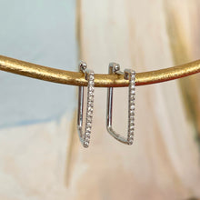 Load image into Gallery viewer, Estate 14KT White Gold .30 CT Pave Diamond Square Hoop Earrings