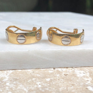 Estate 14KT Yellow Gold + White Gold Love Half-Hoop Earrings, Estate 14KT Yellow Gold + White Gold Love Half-Hoop Earrings - Legacy Saint Jewelry
