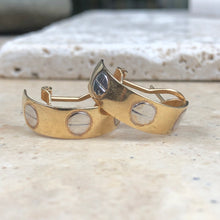 Load image into Gallery viewer, Estate 14KT Yellow Gold + White Gold Love Half-Hoop Earrings, Estate 14KT Yellow Gold + White Gold Love Half-Hoop Earrings - Legacy Saint Jewelry