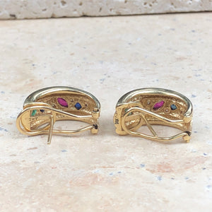 Estate 14KT Yellow Gold Sapphire, Ruby + Emerald Diamond Half-Hoop Earrings - Legacy Saint Jewelry