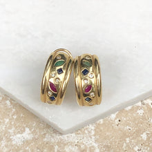 Load image into Gallery viewer, Estate 14KT Yellow Gold Sapphire, Ruby + Emerald Diamond Half-Hoop Earrings, Estate 14KT Yellow Gold Sapphire, Ruby + Emerald Diamond Half-Hoop Earrings - Legacy Saint Jewelry