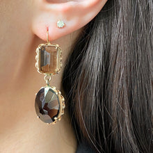 Load image into Gallery viewer, Estate 14KT Yellow Gold Smokey Quartz Dangle Gemstone Earrings - Legacy Saint Jewelry