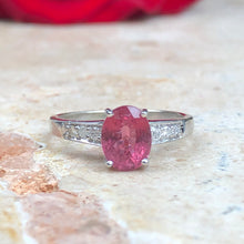 Load image into Gallery viewer, Estate 14KT White Gold Oval Pink Tourmaline + Pave Diamond Ring Size 7, Estate 14KT White Gold Oval Pink Tourmaline + Pave Diamond Ring Size 7 - Legacy Saint Jewelry