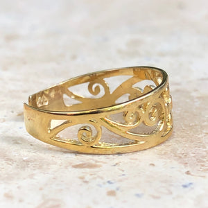 14KT Yellow Gold Floral Filigree Toe Ring, 14KT Yellow Gold Floral Filigree Toe Ring - Legacy Saint Jewelry