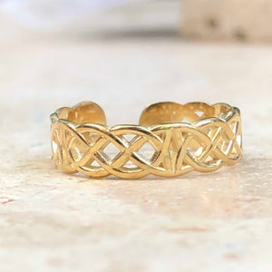 14KT Yellow Gold Celtic Weave Toe Ring, 14KT Yellow Gold Celtic Weave Toe Ring - Legacy Saint Jewelry
