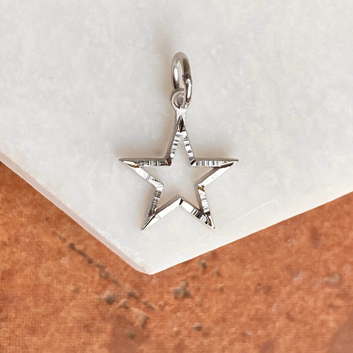 10KT White Gold Diamond-Cut Star Pendant Charm, 10KT White Gold Diamond-Cut Star Pendant Charm - Legacy Saint Jewelry
