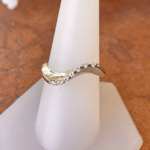 Estate 14KT White Gold Curved Contempo Diamond Ring