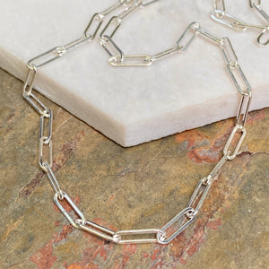 Sterling Silver Polished Open Paper Clip Chain Link Necklace 3.8mm