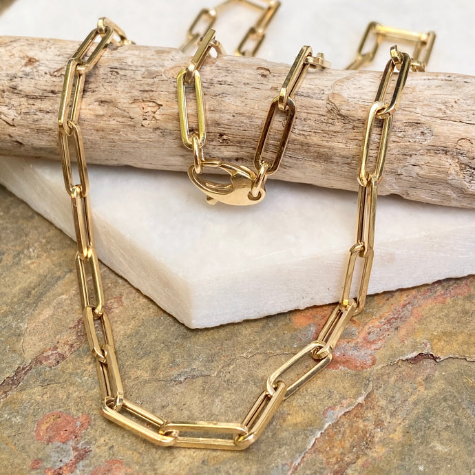 14KT Yellow Gold Polished 4mm Paper Clip Chain Link Necklace