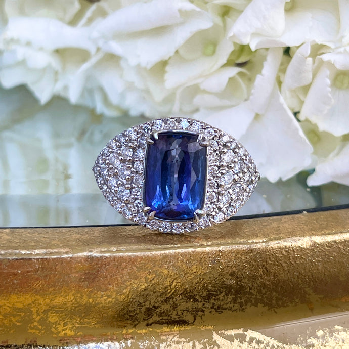 Estate 14KT White Gold Pave Diamond + Cushion 4.87 CT Tanzanite Ring