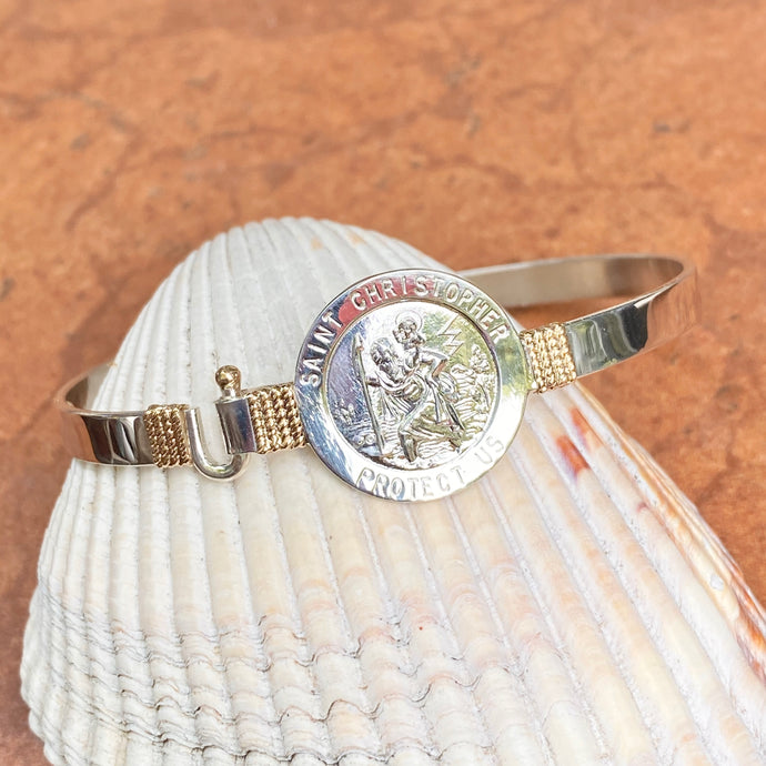 Sterling Silver + 14KT Yellow Gold Accent St Christopher Medal Bangle Bracelet