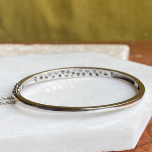 Estate 14KT White Gold Graduated Channel Set Diamond Bangle Bracelet, Estate 14KT White Gold Graduated Channel Set Diamond Bangle Bracelet - Legacy Saint Jewelry