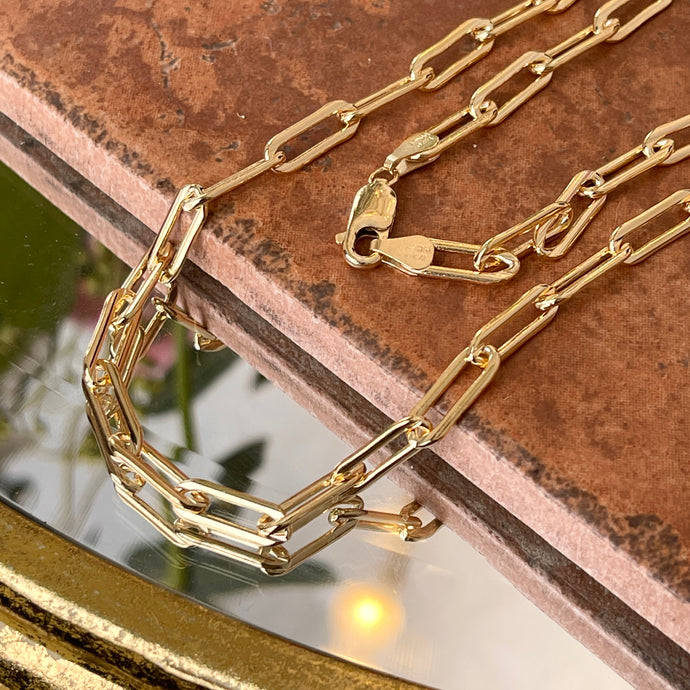 14KT Yellow Gold-Filled Silver 5mm Paper Clip Chain Necklace