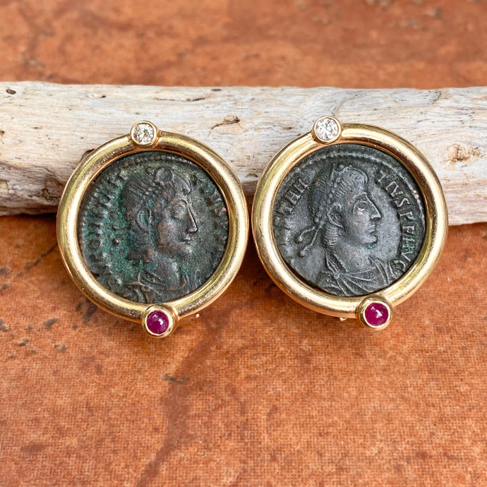Estate 14KT Yellow Gold Etruscan Roman Coin Ruby + Diamond Omega Back Earrings