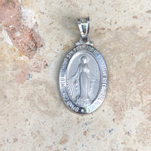Load image into Gallery viewer, 14KT White Gold Virgin Mary Miraculous Medal Pendant Charm 30mm, 14KT White Gold Virgin Mary Miraculous Medal Pendant Charm 30mm - Legacy Saint Jewelry