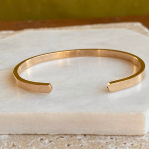 14KT Yellow Gold Polished Solid Open Cuff Bracelet 4mm, 14KT Yellow Gold Polished Solid Open Cuff Bracelet 4mm - Legacy Saint Jewelry