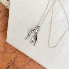 Load image into Gallery viewer, 14KT White Gold Mano Cornuto + Italian Horn Pendants Chain Necklace