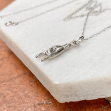 Load image into Gallery viewer, 14KT White Gold Mano Cornuto Pendant Chain Necklace