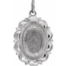 Load image into Gallery viewer, Sterling Silver Oval Scalloped Edge Miraculous Medal Pendant 22mm