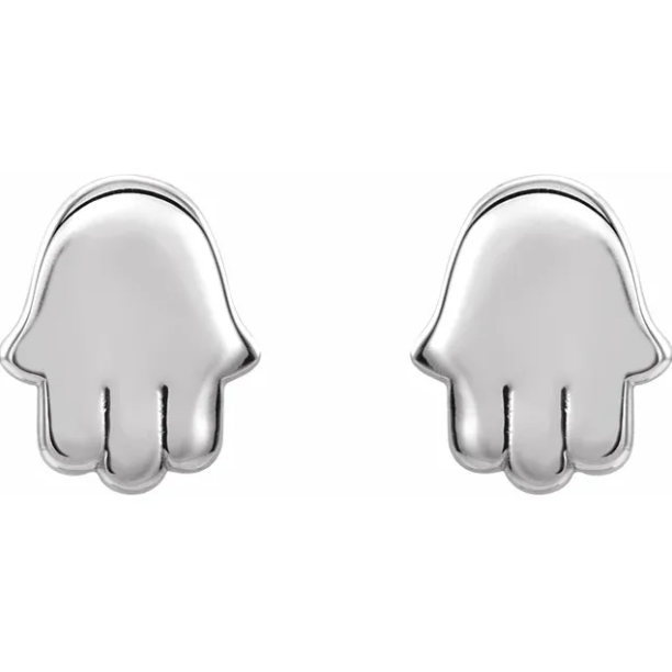 14KT White Gold Polished Mini Hamsa Stud Earrings