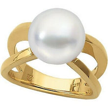 Load image into Gallery viewer, 14KT Yellow Gold Genuine Paspaley South Sea Pearl Open Band Ring, 14KT Yellow Gold Genuine Paspaley South Sea Pearl Open Band Ring - Legacy Saint Jewelry