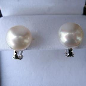 14KT White Gold Paspaley Pearl Omega Earrings 12mm, 14KT White Gold Paspaley Pearl Omega Earrings 12mm - Legacy Saint Jewelry