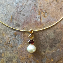 Load image into Gallery viewer, 14KT Yellow Gold Garnet, Citrine + Paspaley South Sea Pearl Pendant Slide, 14KT Yellow Gold Garnet, Citrine + Paspaley South Sea Pearl Pendant Slide - Legacy Saint Jewelry