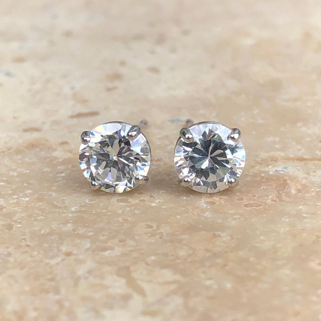 14KT White Gold Round CZ Stud Post Earrings, 14KT White Gold Round CZ Stud Post Earrings - Legacy Saint Jewelry