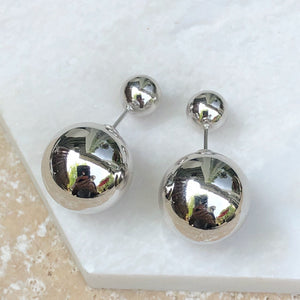 Sterling Silver Double-Ended Ball Post Earrings, Sterling Silver Double-Ended Ball Post Earrings - Legacy Saint Jewelry