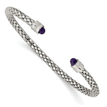 Load image into Gallery viewer, Sterling Silver Weave Amethyst Open Cuff Bangle Bracelet, Sterling Silver Weave Amethyst Open Cuff Bangle Bracelet - Legacy Saint Jewelry