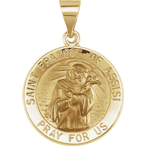14KT Yellow Gold Saint Francis of Assisi Round Medal Pendant, 14KT Yellow Gold Saint Francis of Assisi Round Medal Pendant - Legacy Saint Jewelry