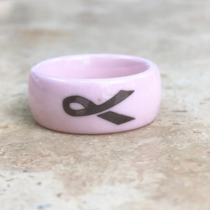 Pink Ceramic Breast Cancer Awareness Ribbon Ring, Pink Ceramic Breast Cancer Awareness Ribbon Ring - Legacy Saint Jewelry