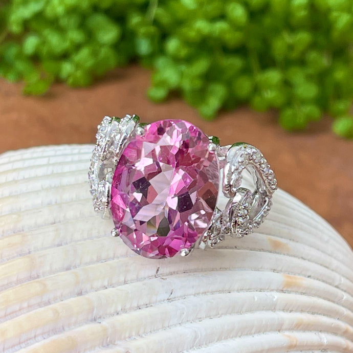 Estate 14KT White Gold Oval Large Pink Topaz + Pave Diamond Swirl Ring