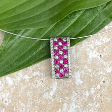Load image into Gallery viewer, 14KT White Gold Ruby + Diamond Rectangle Pendant Slide, 14KT White Gold Ruby + Diamond Rectangle Pendant Slide - Legacy Saint Jewelry
