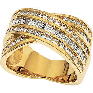 14KT Yellow Gold Baguette + Round Diamond Cigar Band Ring, 14KT Yellow Gold Baguette + Round Diamond Cigar Band Ring - Legacy Saint Jewelry