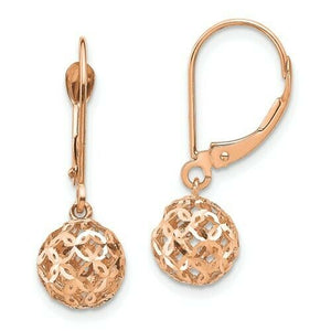 14KT Rose Gold Filigree Ball Lever Back Earrings, 14KT Rose Gold Filigree Ball Lever Back Earrings - Legacy Saint Jewelry