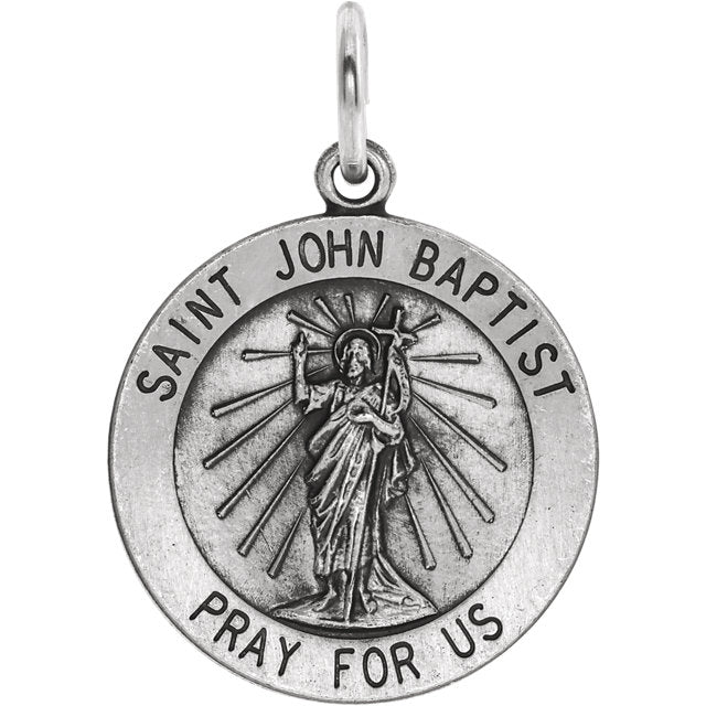 Sterling Silver Saint John Baptist Round Medal Pendant, Sterling Silver Saint John Baptist Round Medal Pendant - Legacy Saint Jewelry