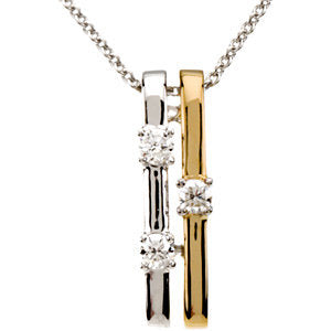 14KT White Gold + Yellow Gold Double Bar Diamond Necklace, 14KT White Gold + Yellow Gold Double Bar Diamond Necklace - Legacy Saint Jewelry