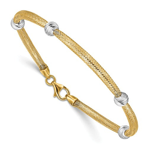 14KT Yellow Gold + White Gold Mesh Beaded Bracelet, 14KT Yellow Gold + White Gold Mesh Beaded Bracelet - Legacy Saint Jewelry