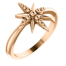 Load image into Gallery viewer, 14KT Rose Gold Beaded Star Ring, 14KT Rose Gold Beaded Star Ring - Legacy Saint Jewelry