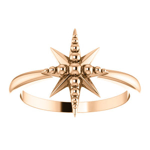 14KT Rose Gold Beaded Star Ring, 14KT Rose Gold Beaded Star Ring - Legacy Saint Jewelry