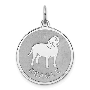 Sterling Silver Beagle Dog Pendant Charm Satin Disc, Sterling Silver Beagle Dog Pendant Charm Satin Disc - Legacy Saint Jewelry