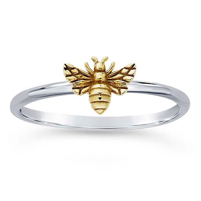 Sterling Silver + Bronze Honey Bee Ring, Sterling Silver + Bronze Honey Bee Ring - Legacy Saint Jewelry
