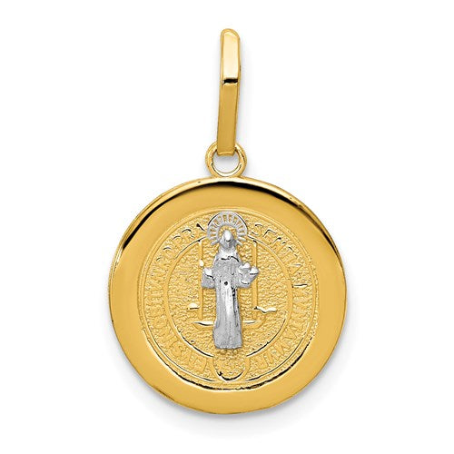 Two-Tone 14KT Yellow Gold + White Rhodium Saint Benedict Reversible Round Medal Pendant Charm, Two-Tone 14KT Yellow Gold + White Rhodium Saint Benedict Reversible Round Medal Pendant Charm - Legacy Saint Jewelry