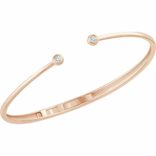 14KT Rose Gold Bezel-Set Diamond Open Bangle Bracelet, 14KT Rose Gold Bezel-Set Diamond Open Bangle Bracelet - Legacy Saint Jewelry