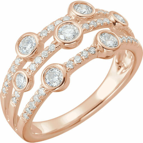 14KT Rose Gold Bezel Set + Pave Diamond Band Ring, 14KT Rose Gold Bezel Set + Pave Diamond Band Ring - Legacy Saint Jewelry