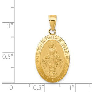 14KT Yellow Gold Oval Miraculous Medal Pendant Charm 31mm, 14KT Yellow Gold Oval Miraculous Medal Pendant Charm 31mm - Legacy Saint Jewelry
