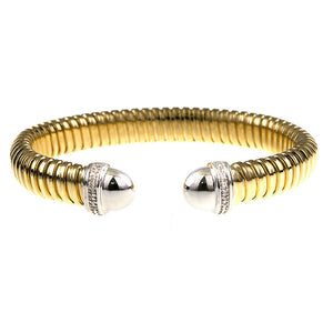 18KT Yellow Gold + White Gold Corrugated Diamond Cuff Bracelet, 18KT Yellow Gold + White Gold Corrugated Diamond Cuff Bracelet - Legacy Saint Jewelry